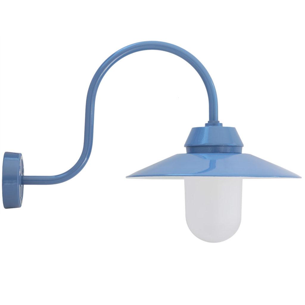 blaue Hoflampe mit satiniertem Sturz